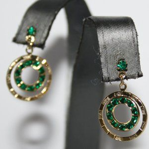 Vintage gold and emerald post earrings